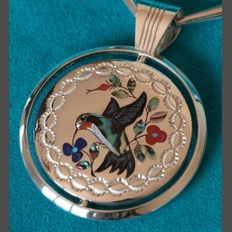 Silver Hummingbird and Cardinal  Gem Inlay Silver Necklace Jewelry Jake Livingston