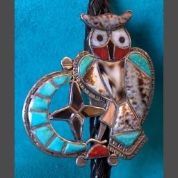 Theodore Edaakie Zuni Pueblo Owl Bolo Tie