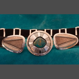Concho Belt made by Al Joe in Silver and Turquoise