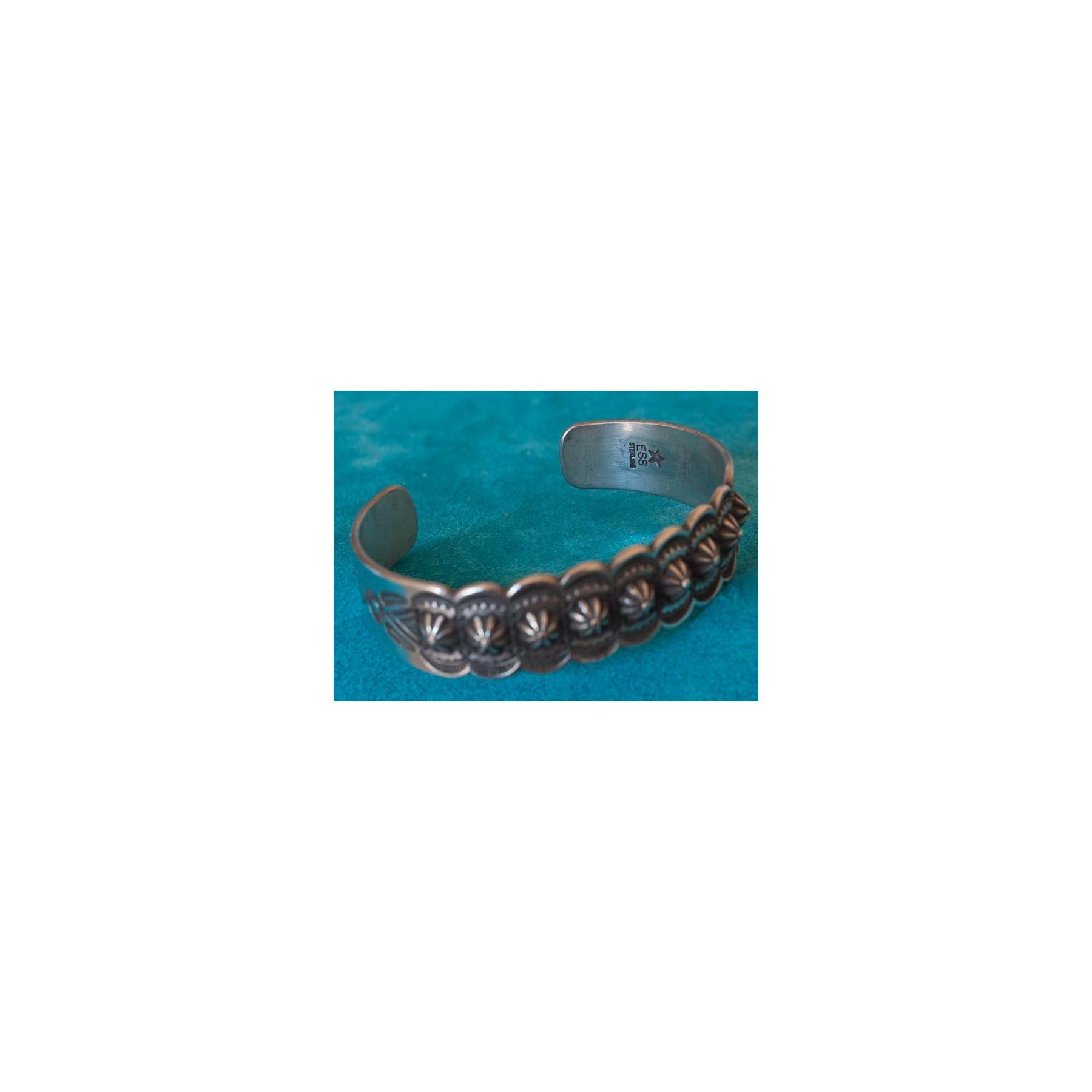 Native American Vintage Design Silver Bracelet Edison Smith