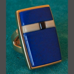 Native American Gold Lapis Ring James Little