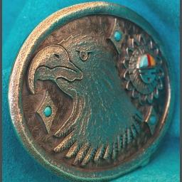 Silver Eagle Belt Buckle Gerald Lomavetema