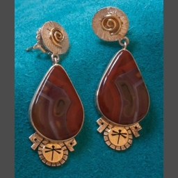 Native American Agate Earrings Jewelry by Myron Panteah