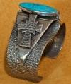 Aaron Anderson Silver Turquoise Cross Bracelet