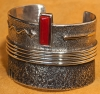 Edison Cummings - HMIJ OxBlood Red Coral Gem set in Tufa Cast Silver Bracelet