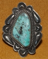 Cripple Creek Turquoise and Silver Ring by Tommy Jackson