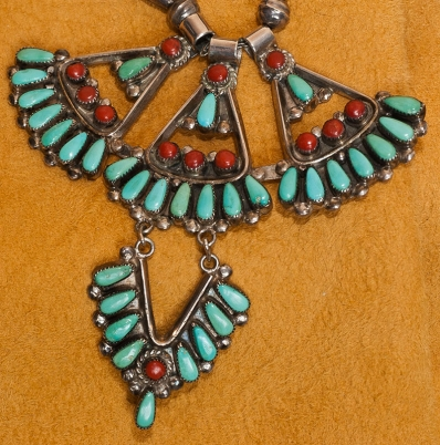 Vintage Zuni Turquoise and Coral Eagle Necklace
