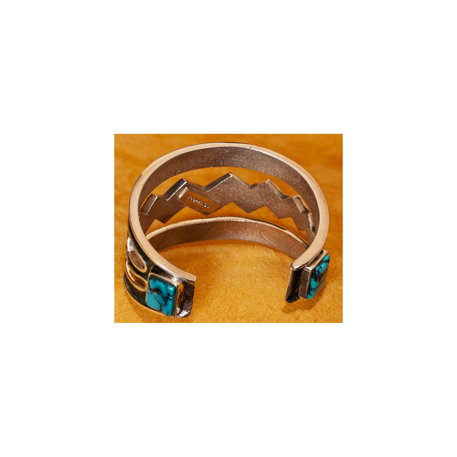 Edison Mings Silver And Turquoise Bracelet