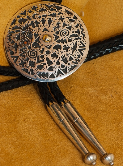 Kee Yazzie Handmade Silver and Gold Bolo Tie