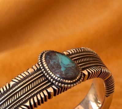Bisbee Turquoise Bracelet by Ron Bedonie