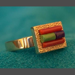 James Little Sugalite Coral 14k Gold Ring Jewelry
