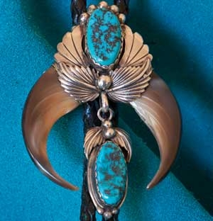 Morenci Turquoise Bear Claw Bolo Tie