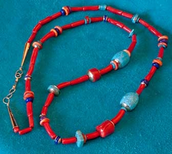 Coral Turquoise Gold Necklace