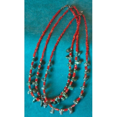 Turquoise Bead Necklace Turquoise and Coral Necklace Coral and Turquoise Necklace Blue Green Necklace Turquoise and Coral Earrings