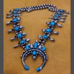 Silver and Turquoise Squash Blossom Necklaces